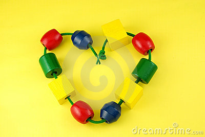 Colorful Childs Wooden Beads Heart Shape