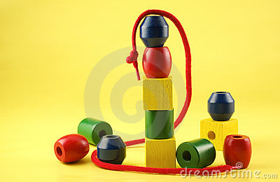 Colorful Childs Wooden Beads with String