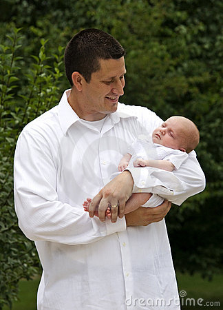Father Holding His Newborn Baby Boy