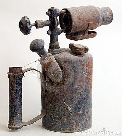 Antique rusty oil lamp