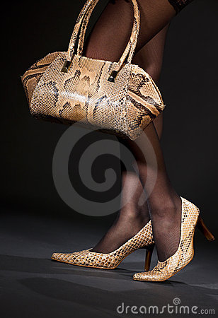 Snakeskin shoes and handbag