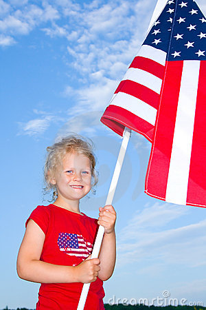 Child with American flag.