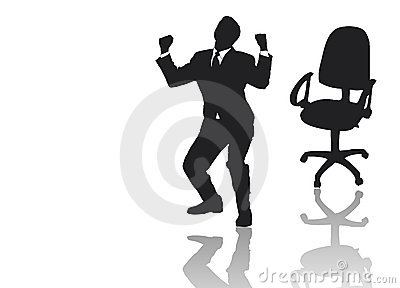 Businessman jumping out of his armchair