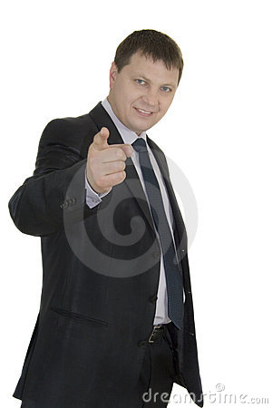 Businessman pointing at copyspace over white