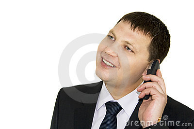 Businessman discussing to the mobile phone