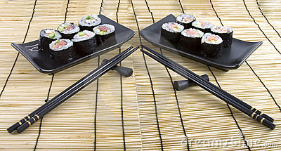 Sushi on a bamboo mat background