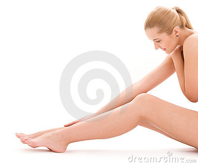 Healthy naked woman over white