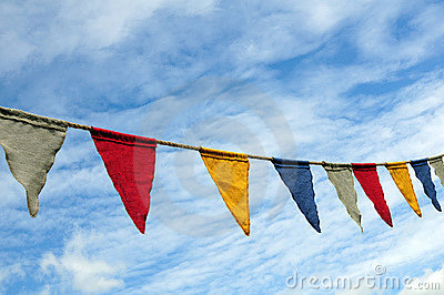 Colorful string of flags