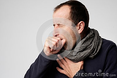 Mature man is ill from colds or pneumonia.