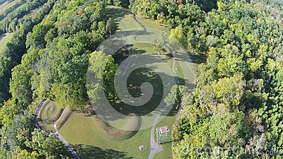 Aerial View of the Great Serpent Mound of Ohio