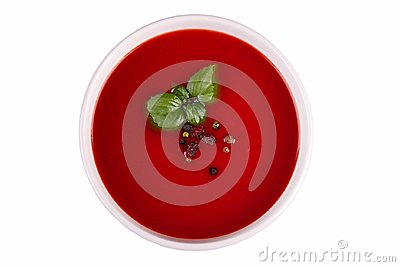 Beef and vegetables soup with tomato and dill. Ukrainian borscht isolated on a white background.