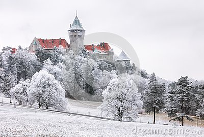 Winter Forest clouds Landscape with Smolenice castle, Slovakia