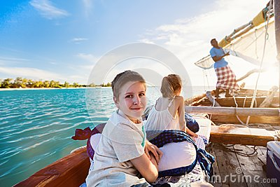 Kids sailing in dhow