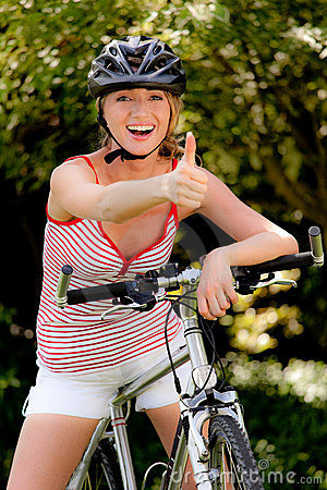 Woman with mountain bike bicycle