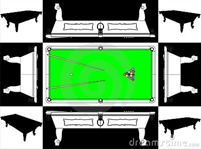 Billiards Snooker Table Base And Face Vector 01