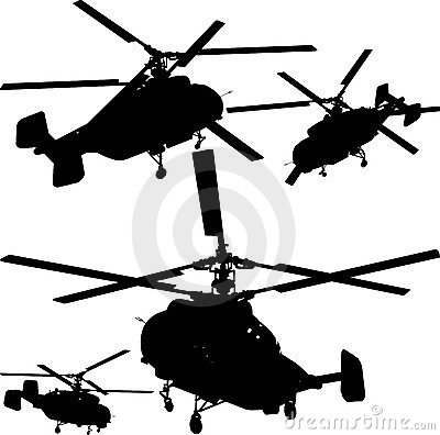 Helicopter Perspective Silhouettes Vector 01