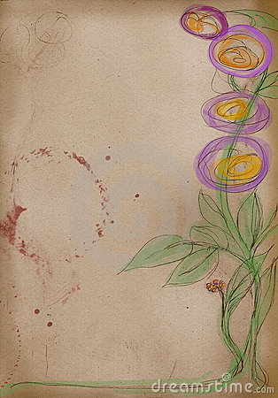 Artist sketch: hand drawing of flowers
