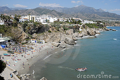 The beach of Nerja in Spain.