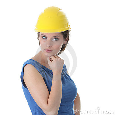 Sexy young woman construction worker contractor