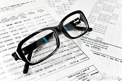 Glasses and financial documents