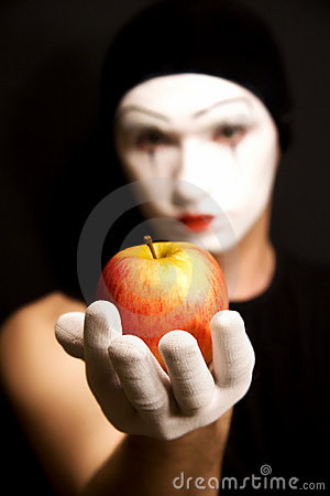 Mime with red apple