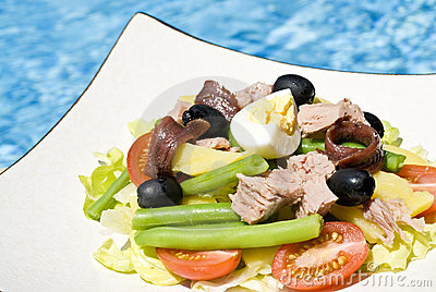 Nicoise Salad  and Pink Wine by the Pool