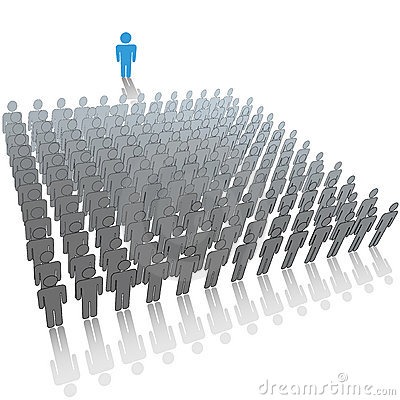 Leader to large audience group of people