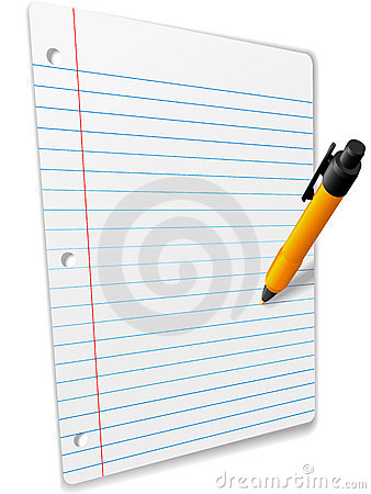 Pen drawing on 3D Perspective Ruled Notebook Paper