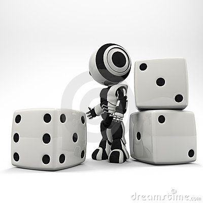 Robot Presenting Oversized Dice