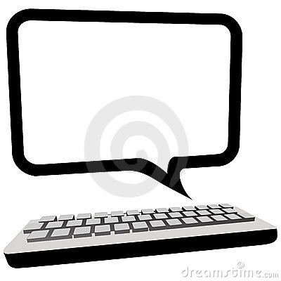 Speech bubble communication computer monitor