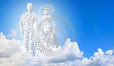 Wedding. couple in clouds.