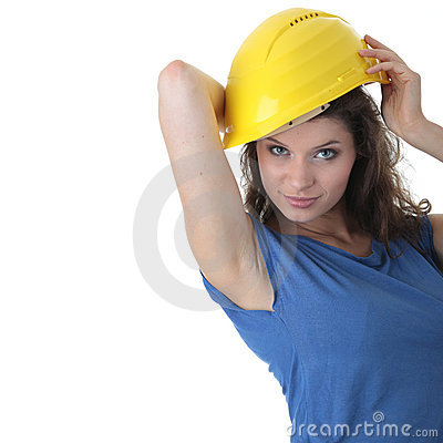 young woman construction worker contractor