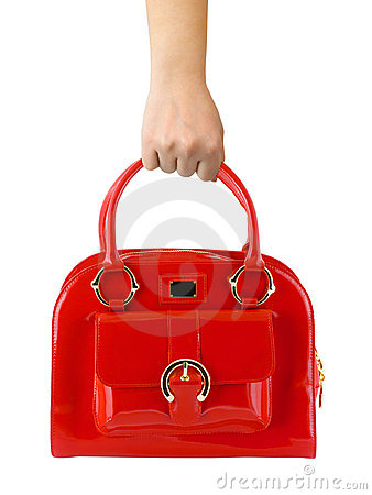 Woman hand with red bag