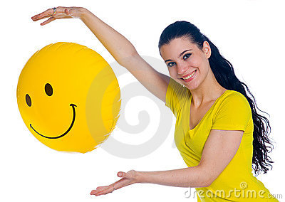 Girl with smiley balloon