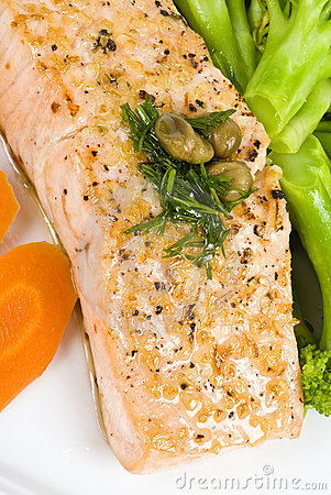 Salmon Fillet with Caper and Dill Sauce