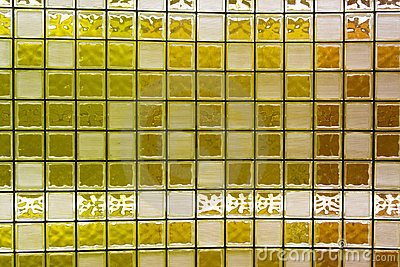 Wall of Yellow Glass Blocks