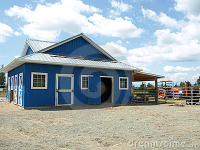 Blue barn in a farm
