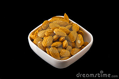 Isolated White Bowl of Almonds