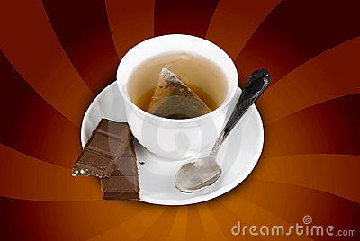 Sweets with cup of tea