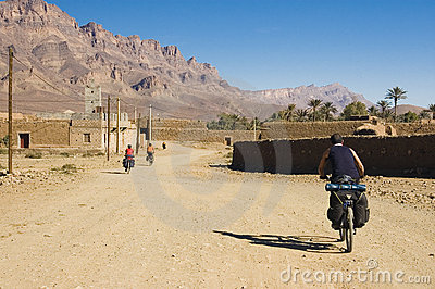 Three friends cycling in south Morocco