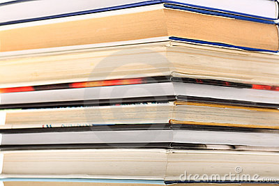 Book stack with focus on edges