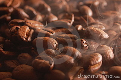 Coffee beans with steam