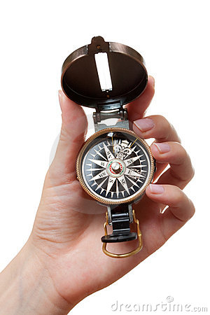 Hand with a compass