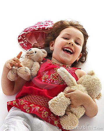Child girl with teddy bears