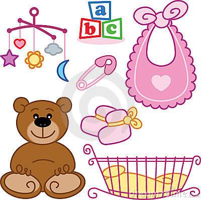 Cute New born baby girl toys graphic elements.