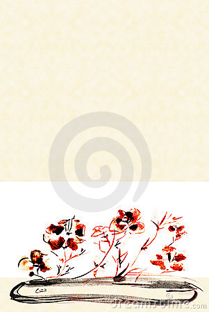Flowers in a flat vase background