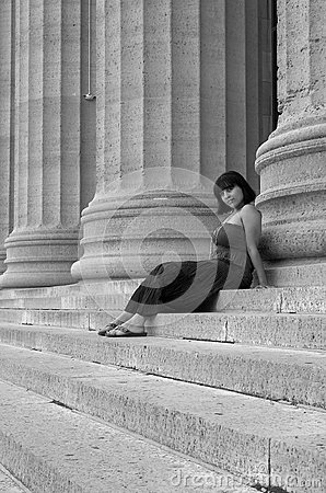 Hispanic girl on museum steps
