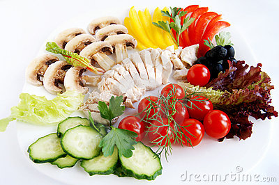 Fresh ingredients for healthy chicken salad
