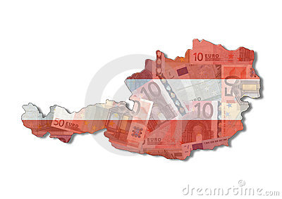 Austria Map flag with euros