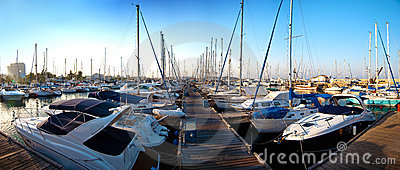 Series of panoramic images from the harbor with ya